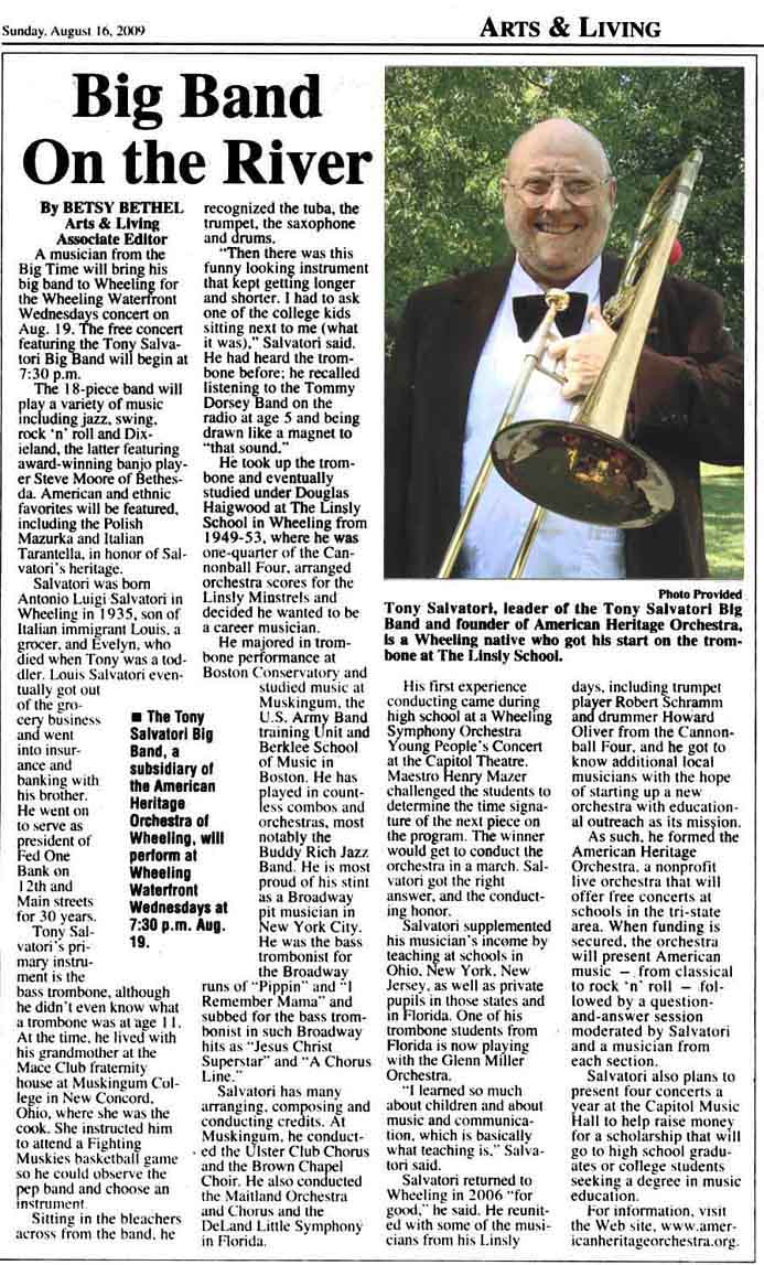 News Article: Tony Salvatori and his Big Band play a Wheeling Waterfront Wednesdays concert
